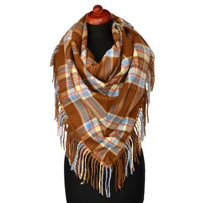 Maxi trojcípý šátek - hnědomodrý