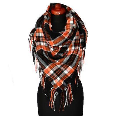 Maxi trojcípý šátek - černooranžový
