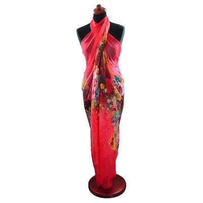 Pareo dámské Astarte - červeno-růžové s květinami