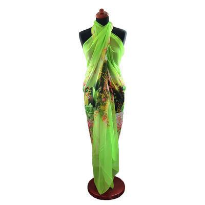 Pareo dámské Astarte - zelené s květinami