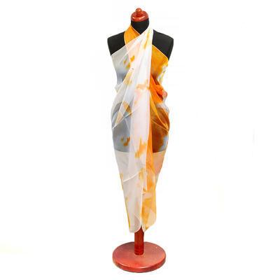 Pareo dámské - bílo-oranžové s potiskem