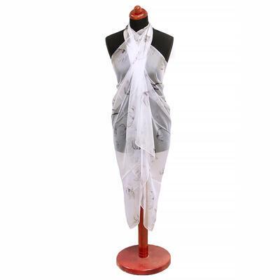 Pareo dámské - bílo-šedé s potiskem