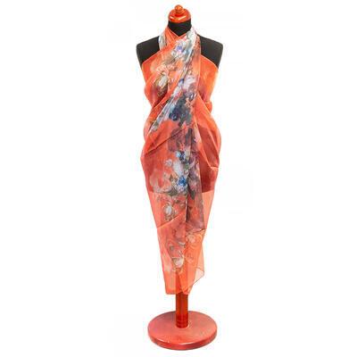 Pareo dámské - oranžové s potiskem
