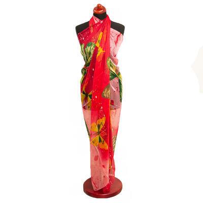 Pareo dámské - červeno-růžové s potiskem