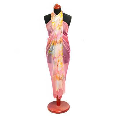 Pareo dámské - růžovo-žluté s potiskem