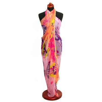 Pareo dámské - růžovo-meruňkové s potiskem
