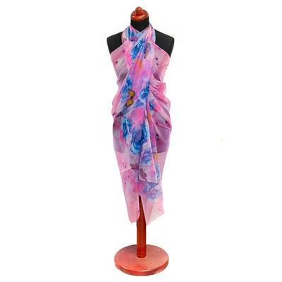 Pareo dámské - růžovo-modré s potiskem