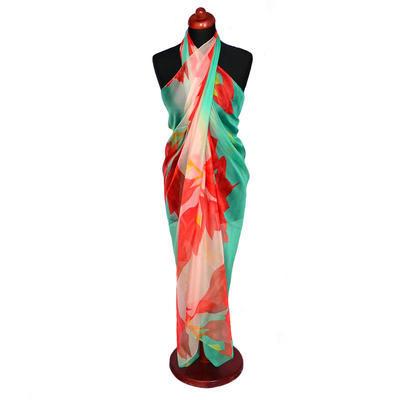 Pareo dámské - zelenočervené s potiskem
