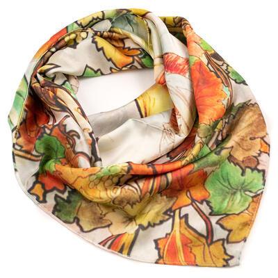 Velký oboustranný šátek - bílo-hnědý/zelený s potiskem - 1