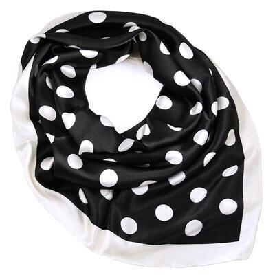 Velký šátek - černobílý s puntíky - 1