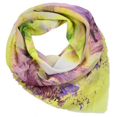 Velký šátek - žluto-fialový s potiskem - 1