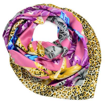 Velký šátek - růžovo-hnědý s potiskem - 1