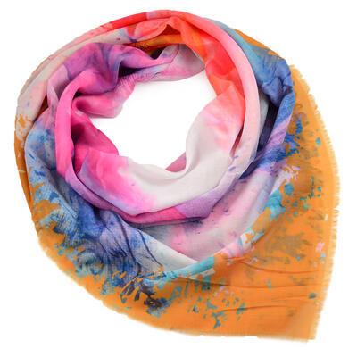 Velký šátek - oranžovo-modrý s potiskem - 1