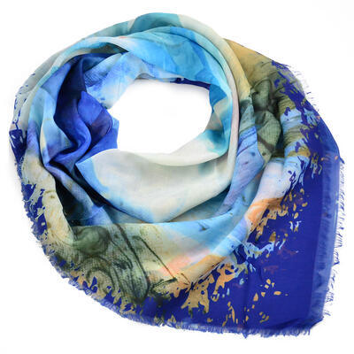 Velký šátek - modrý s potiskem - 1