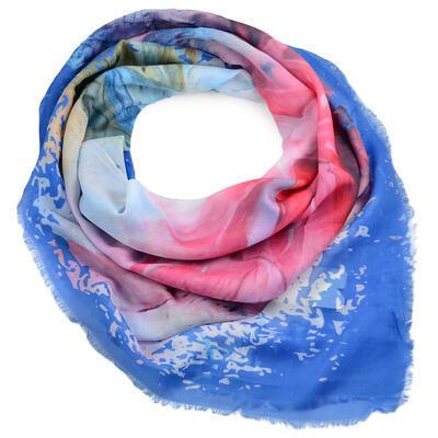 Velký šátek - modro-růžový s potiskem - 1