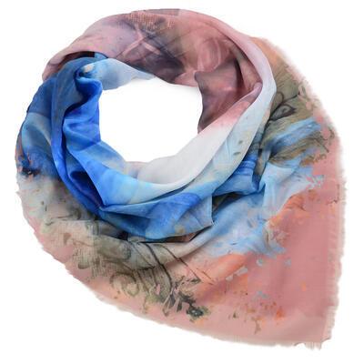 Velký šátek - hnědo-modrý s potiskem - 1