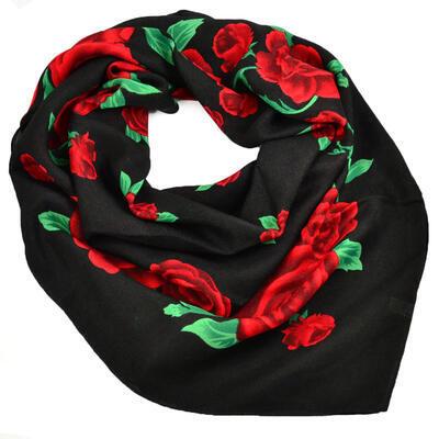 Velký šátek - černo-červený s potiskem - 1