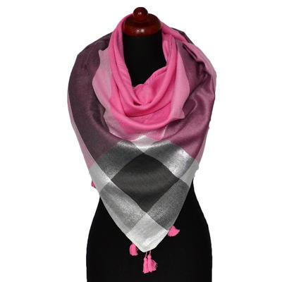 Velký šátek - fuchsiová lesklá kostka - 1