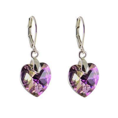 Náušnice Swarovski Elements Srdce Xilion 713akt6228-14-35ab - fialové