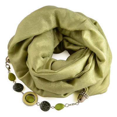 Kašmírová šála s bižuterií 490kk001-51 - zelená