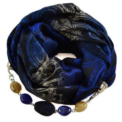 Kašmírová šála s bižuterií 490kk009-30.70 - modrá