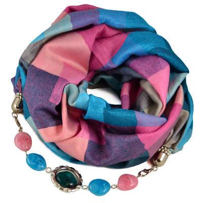 Kašmírová šála s bižuterií - modrorůžová