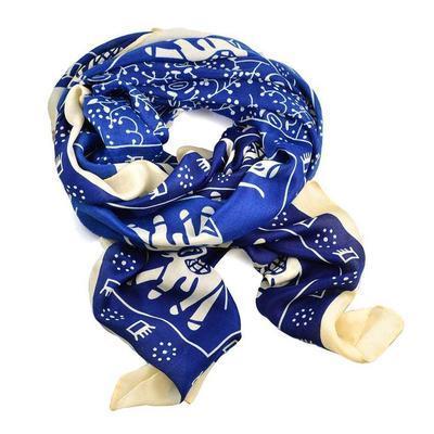 Šála klasická 69cz005-30.14 - modré slony - 1