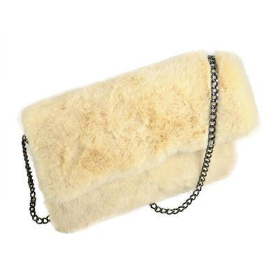 Kožešinová crossbody kabelka ck001-10 - žlutá