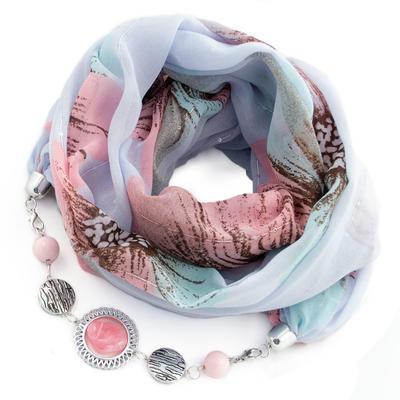 Šála s bižuterií bavlněná Bijoux Me - modrorůžová