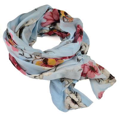Šála bavlněná Carino - modrá s květy - 1