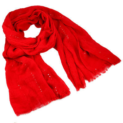 Classic cotton scarf - red - 1