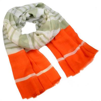 Šála klasická - oranžovo-zelená s pruhy - 1