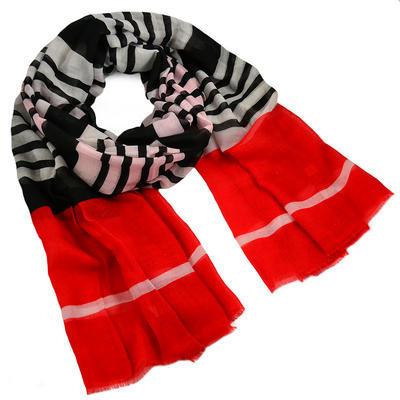 Šála klasická - červeno-černá s pruhy - 1