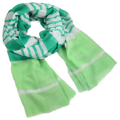 Šála klasická - zelená s pruhy - 1