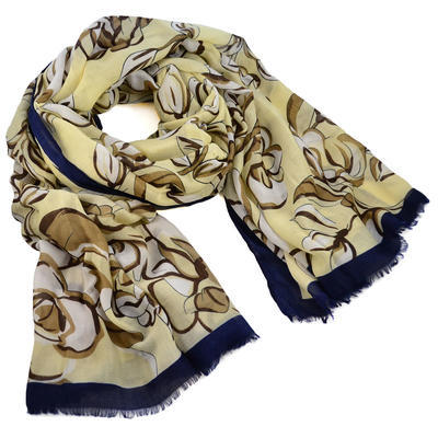 Classic women's scarf - yellow and blue - 1