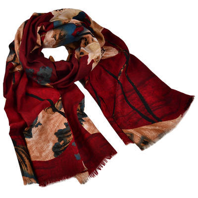 Classic women's scarf - dark red and brown - 1