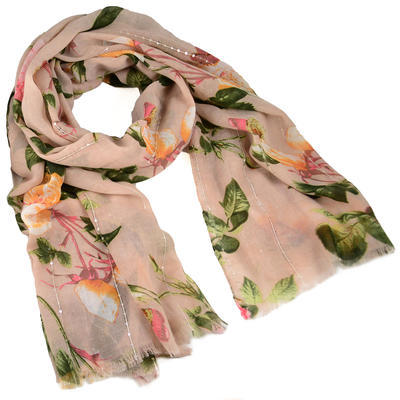 Šála klasická - růžová s květy - 1