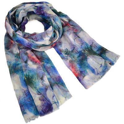 Šála klasická - modrá s květy - 1