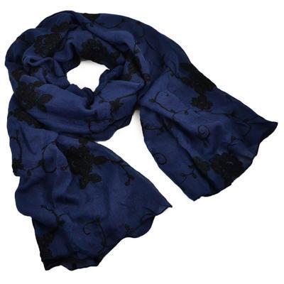 Šála klasická - modrá s vyšitými květy - 1