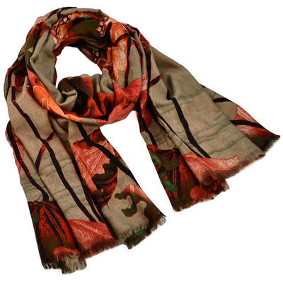 Classic women's scarf - brown and orange - 1