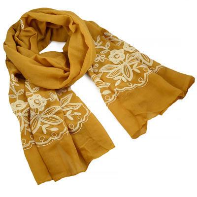 Šála klasická - zlatá s vyšitými květy - 1