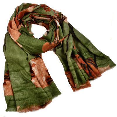 Classic women's scarf - green and orange - 1
