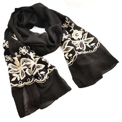 Šála klasická - černá s vyšitými květy