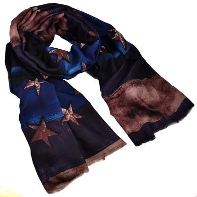 Classic women's scarf - violet and blue - 1