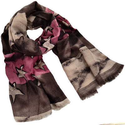 Classic women's scarf - brown and pink - 1