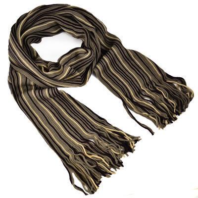 Šála panská pletená - hnědá pruhovaná