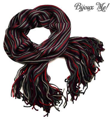 Šála panská pletená 69cp003-71.20 - šedočervená pruhovaná