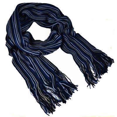 Šála panská pletená - modrá pruhovaná