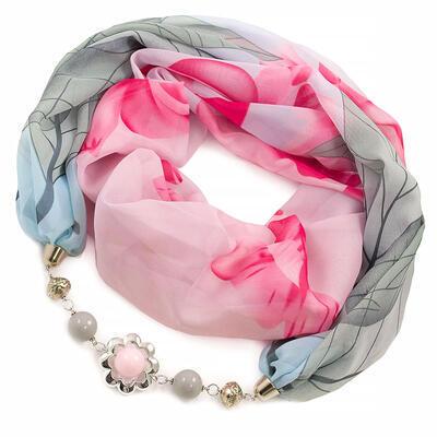 Šála s bižuterií Extravagant - růžovo-modrá - 1