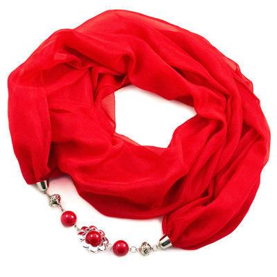 Šála s bižuterií Extravagant - červená - 1
